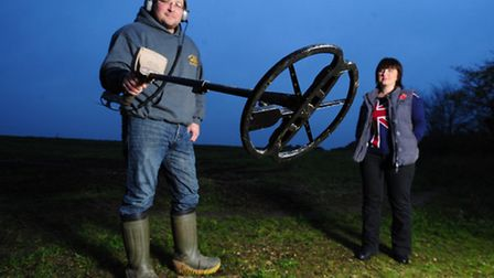 A World War One medal that has been found by a metal detector enthusiast Paul Nunn and and wife Kirs
