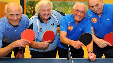 The four octogenarians playing table tennis in the Norwich and District league, from left, Eric Ande