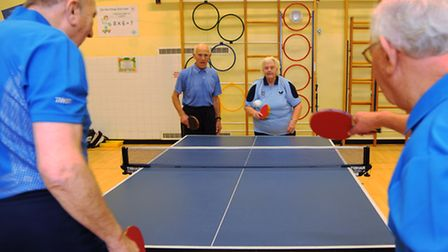The four octogenarians playing table tennis in the Norwich and District league, from left, Reg Juett