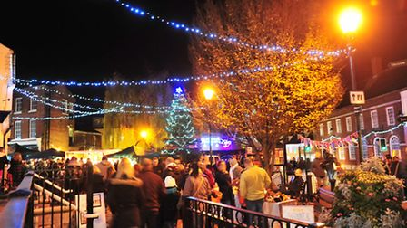 Beccles Christmas light switch on.