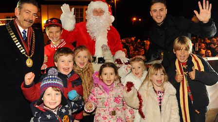 The Thorpe Christmas lights are switched on by Mayor John Ward, Father Christmas, Norwich City's Ricky van Wolfswinkel...