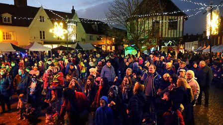 The Wymondham Dickensian Steam Punk Fayre event. The Christmas lights are switched on. Picture: Deni