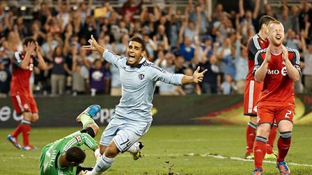 Dom Dwyer peels away to celebrate a goal for Sporting Kansas City. Picture: Gary Rohman