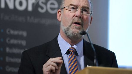Peter Hawes, managing director of Norse Commercial Services, speaking at the firm's 25th anniversary