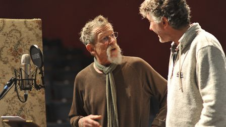 John Hurt discusses his voice of the mirror role with Sheringham panto director Simon Thompson. Phot