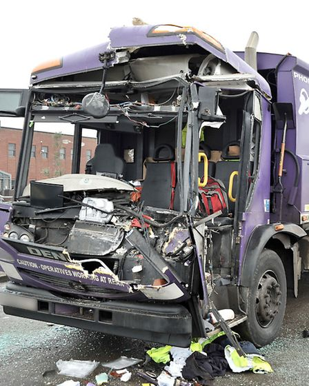Refuse lorry collision in Hostmoor rd March.