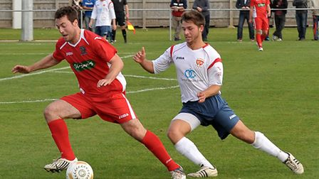 Wisbech Town, red, will visit Walsall Wood now on Saturday. Picture: Steve Williams