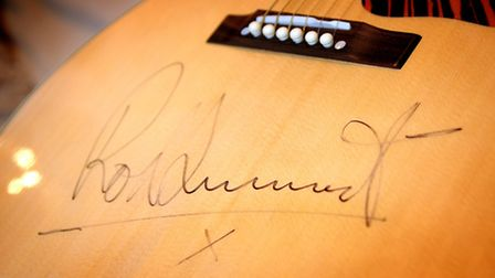 The signed guitar Rod Stewart gave to Barry Holden from North Walsham.PHOTO: ANTONY KELLY