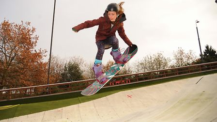 UEA student Mary Leishman, on top of the world at the Snowsports Club at Whitlingham, after becoming