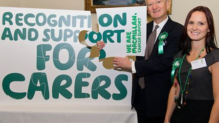 Henry Bellingham with constituent Rachel Waddison. Photograph courtesy of Macmillan Cancer Support.