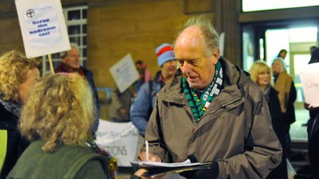 Bedroom tax protest before the council meeting at City Hall in Norwich last night. Photo: Bill Smith