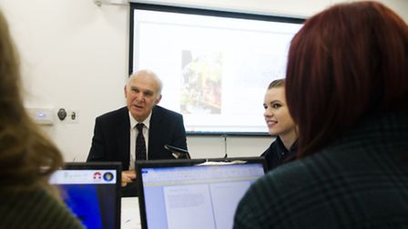 Business Secretary Vince Cable met students from City College Norwich to discuss the college's retai