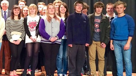 Students line up after receiving awards at Sheringham High School. Photo: Submitted.
