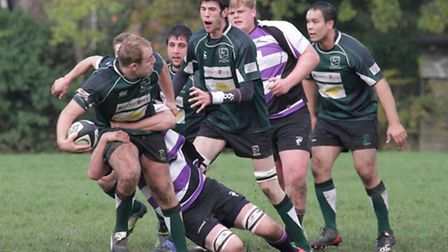 The impressive Matt Oakes makes ground for the Vikings at Woodford. Picture: Hywel Jones.
