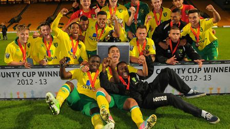 Norwich City U21 winning the Norfolk Senior Cup final at Carrow Road in their match against Wroxham