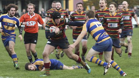 Norwich RFC's Laurence Austin crosses the line for his second try during last week's home cup defeat