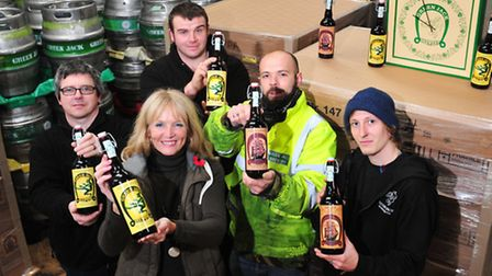 Lowestoft brewery, Green Jack, are now exporting beer to the USA.Lee Dunford (centre) with brewery t