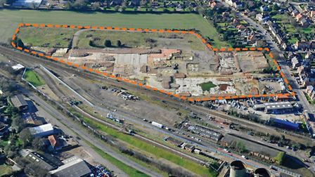 The former HL Foods factory site in North Walsham from the air with the application site outlined. Picture: BIDWELLS