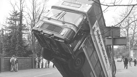 BUS FALLS DOWN OLD LIME PITS IN EARLHAM ROAD; DATED 1988