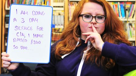 Ormiston Denes Academy student Deanna Provis 15, has challenged herself to be silent for 3 days. Mo