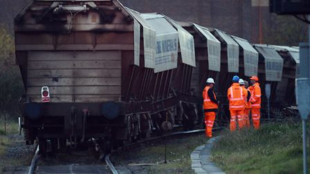 The sand train came off the rails near the level crossing on Tennyson Road in King's Lynn - Part of