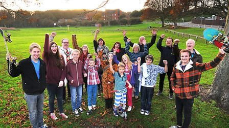Campaigners for Cromer Skate Park pictured at The Meadow.PHOTO: ANTONY KELLY