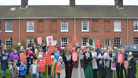 Keep Trowse Special campaigners, some in Victorian attire appealing to planners to preserve the fabr