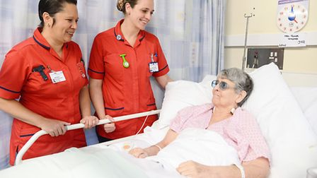 Nurses (L) Jane Parker and Michelle Porter with Winifred Glover at the QEH. Picture: Ian Burt