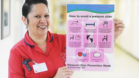 Jane Parker with a Pressure Ulcer Prevention Week poster at the QEH. Picture: Ian Burt