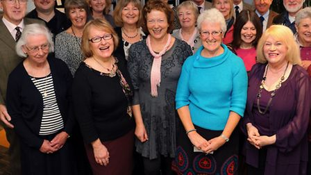 Present librarian, Rosemary Dixon, front 3rd left, celebrates the 75th anniversary of the Editorial