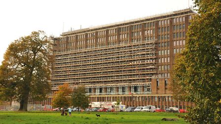 Scaffolding up around parts of County Hall in Norwich.PHOTO BY SIMON FINLAY