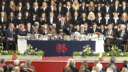 Headteacher Jason Morrow speaking at the Norwich High prize giving