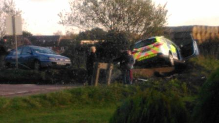 A police car was involved in a collision with another car in Buxton today: Photos Sarah Norman-Mille