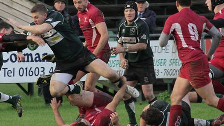 Action from North Walsham's game against Ruislip. Picture: Hywel Jones.