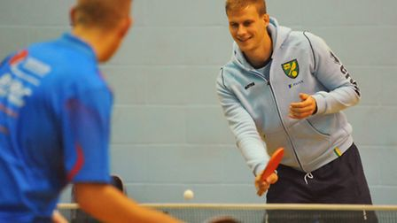 Launch of the Easton College and community sports foundation partnership. Ryan Bennett plays table t