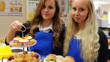 Students, Tallulah Self, 14, right, and Mollie Smith, 15, with their baking during the inter schools