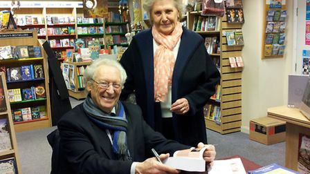 Anthony Grey at the book signing at Holt Bookshop with Maggie Golden, who used to work in the EDP Cr
