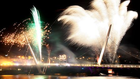 Fireworks over the Peace bridge in Londonderry, as the city celebrates becoming 2013 UK city of cult