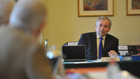 John Watson chairing the fourth Public Inquiry into the proposed wind farm at Shipdham. Photo: Bill