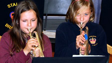 Youngsters on soproano cornets at Stalham Brass Band's training section. Picture; SUBMITTED