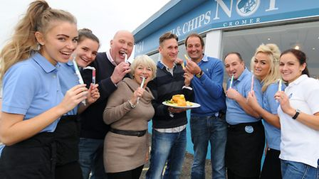 Cruse charity having lunch at No1 Cromer fish and chip restaurant. Left to Right, Simone Gray, Franc