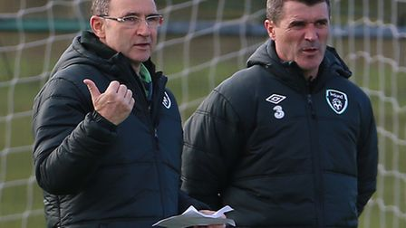 Republic of Ireland manager Martin O'Neill (left) and assistant manager Roy Keane during a training