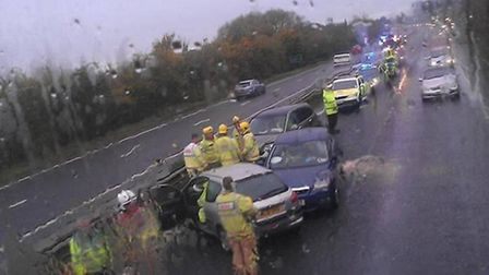 Crash on the A47 at Costessey. Pic submitted.