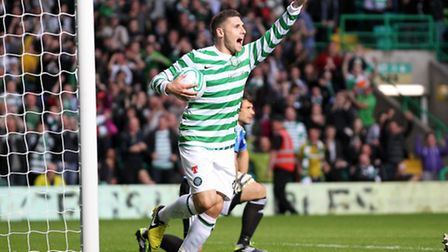 Celtic's Gary Hooper celebrates scoring during a UEFA Champions League Qualifying match at Celtic P