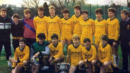 Daryl Sutch (fourth from left, back row) with the Waveney Youth under-15 team, and Brian Gallagher (