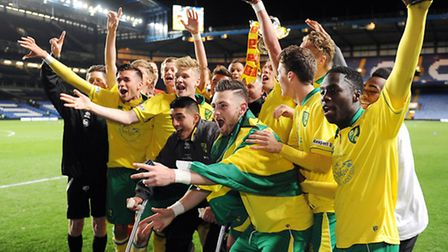 Norwich City's Under-18s celebrate winning the FA Youth Cup trophy earlier this year. Picture: Matth