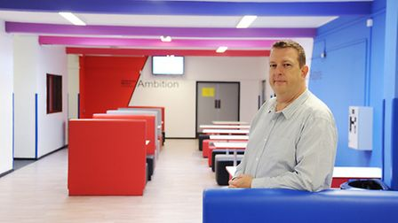 Inside one of the new learning areas at Downham Market Academy is principal Jon Ford. Picture: Ian B