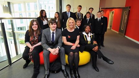 Principal Naomi Palmer with some of the students at the new buildings of Ormiston Victory Academy in