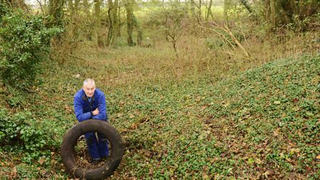 Nigel Ford is involved in a one-man campaign against fly-tipped tyres. Picture: Ian Burt