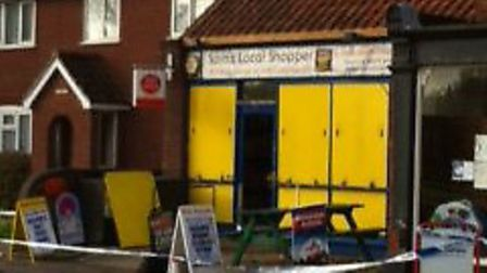 Sam's Local Shopper in Pulham Market which was broken into in the early hours of this morning.